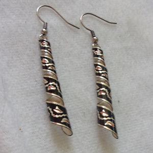 Pierced metal swirl enameled pierced earrings